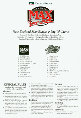 Itinerary/Fixture List Card: Cricket Max International - New Zealand Max Blacks v English Lions 1997; Cathay Pacific; 1997; 2010.51.1