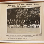 Framed Photo: New Zealand and Australian teams, unofficial Test, Pukekura Park, New Plymouth, March 1967; Charters and Guthrie; 1967; 2018.19.1