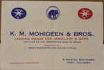 Business Card: K.M. MOHIDEEN & BROS., - Jewelers ; 2017.32.153