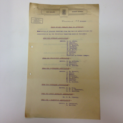 Papers: New Zealand Cricket Council Papers concerning the 1914 New Zealand tour to Australia; New Zealand Cricket Council; 1913; 2015.34.18