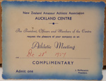 Complimentary Ticket: Invitation to the Athletic Meeting on Dec 28th 1957 from the New Zealand Amateur Athletic Association. ; 1957; 2017.32.119
