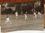 Photograph: A women's cricket game played in England. The ball has just been hit. Date unknown c.1950s ; The Sport and General Press Agency LTD; Circa 1954; 2017.32.40