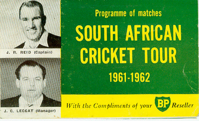Itinerary/Fixture List Card: Programme of Matches - South African Cricket Tour 1961-62; BP -British Petroleum; 1961; 2005.11.120