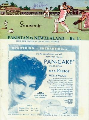 Programme: Pakistan vs New Zealand (First Test), National Stadium, Karachi, Pakistan, 13, 14, 15, 16 , 18 October 1955; The Board of Control for Cricket in Pakistan; 1955; 2008.52.3