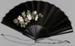 Fan, Folding, Black satin with pink rose spray; Unknown maker; 1880-1920; RI.LA01.07
