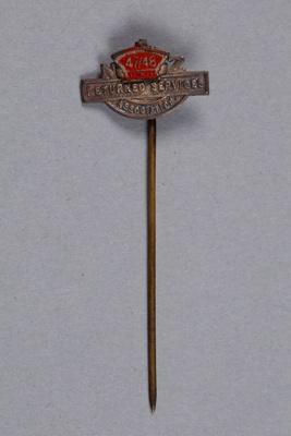 Badge, R.S.A. Pin, Arthur William Robb (W.W.I.); Returned Services Association (R.S.A.); 1947; RI.W2014.3579.6
