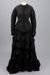Dress, Two-piece (bodice and skirt), Black silk with beading and pintucks; Unknown maker; 1865-1880; RI.W2011.3063