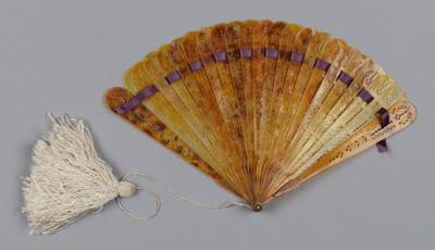 Fan, Brisé, Purple ribbon and silk tassel; Unknown maker; 1865-1910; RI.W2001.05