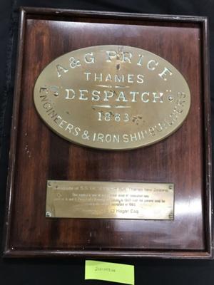 Plaque, Dispatch 1883 A & G Price Ltd; A & G Price Ltd; 2021.053.04