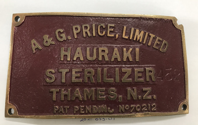 Plaque, Hauraki Sterilizer; A & G Price Ltd; 2021.053.01