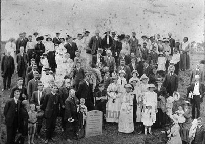 Unveiling of Reverend John Whiteley memorial stone at Pukearuhe, Barleyman, John, c 1890s-1910s, PHO2007-166