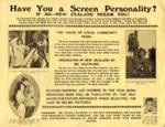 Circular 'Have You a Screen Personality?', Hayward, Rudall    New Zealand, 1929, D0516 13/1