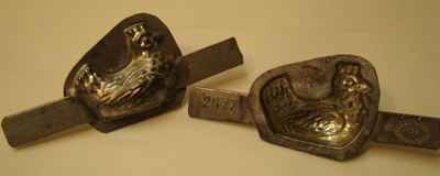 Metal chocolate chicken mould made by Letang Fils,...
