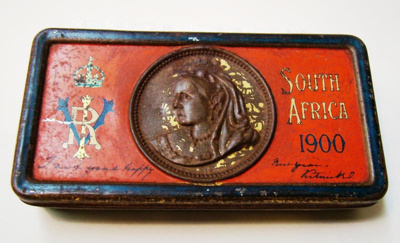 Chocolate Tin gifted to troops in Boer War by Quee...