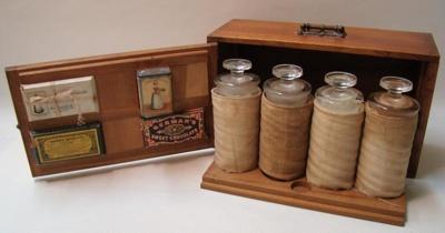 Wooden Walter Baker sample case containing actual ...