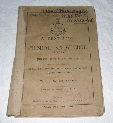 Book, 'A Text-Book of Musical Knowledge (Part I)'; A Hammond & Co.; XAH.N.121