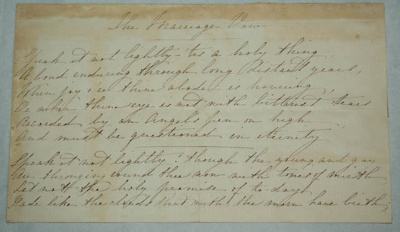 Poem, 'The Marriage Vow'; Martha Kerr Taylor (1839-1864); 02 Nov 1861; XAH.A.42