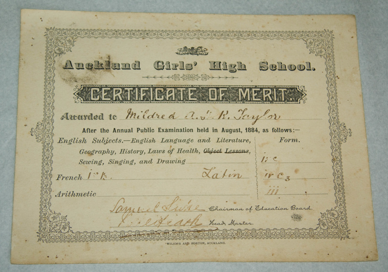 Certificate, U0027Certificate Of Merit Awarded To Mildred Kerr Tayloru0027;  Auckland Gir.  Merit Certificate Comments