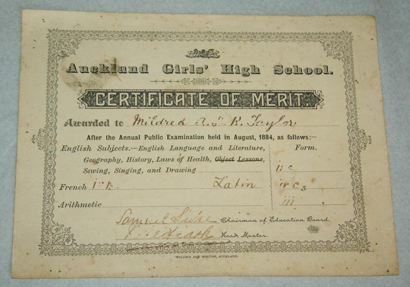 certificate   u0026 39 certificate of merit awarded to mildred kerr taylor u0026 39   auckland girls u0026 39  high school