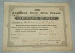 Certificate, 'Certificate of Merit awarded to Mildred Kerr Taylor'; Auckland Girls' High School; August 1884; XAH.GH.517