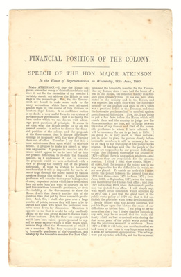Booklet, 'Financial Position of the Colony.  Speech of the Honourable Major Atkinson'; Harry Atkinson (1831-1892); 1880; XHC.256