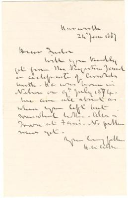 Letter [Harry Atkinson to Edmund Tudor Atkinson]; Harry Atkinson (1831-1892); 20 Jan 1887; XHC.185