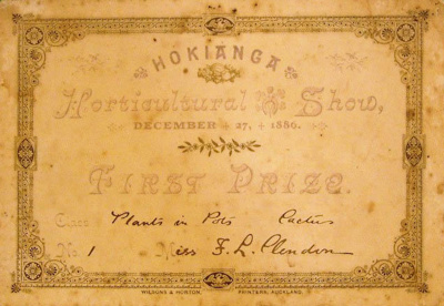 Certificate [Frances Louisa Clendon]; Hokianga Horticultural Show; 27 December 1886; XCH.1744