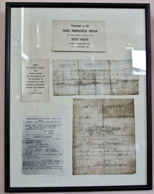 Documents [miner's permit and miner's right]; 1868; XTS.110
