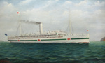 Painting, Hospital Ship Marama off Sinclair Head, Wellington; Frank Barnes ; 1915; 1972.1.2