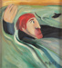 Painting, 'Mackenzie with Dog Swimming in the Clutha river'; Moffitt, Gilbert Trevor; 1966; ESC.15.020