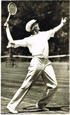 Action photograph of A C Stedman NZ Tennis Champion and Davis Cup Rep; 1930s