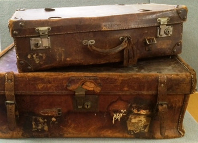 Leather suitcases, used by 4 generations of Reed boys