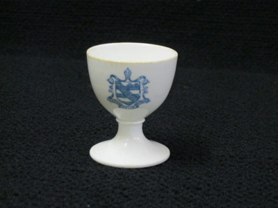 China egg cup with pre 1953 WCS Coat of Arms ; late 1800s