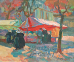 Afternoon Market, Concarneau Brittany; Lough Thompson (1877-1973), NZ; 1993.041