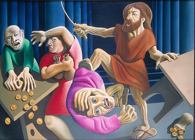 Christ driving the money changers from the temple; Michael Smither; 1972; VUW.1972.3