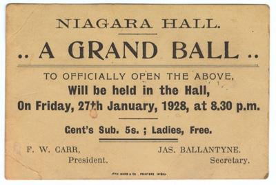Invitation, Niagara Hall Opening ; John Ward & Co; 27.01.1928; WW.1975.219