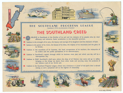 The Southland Creed, Southland Progress League [In Copyright]; The Southland Progress League; 1950-1960; WW.2003.2269
