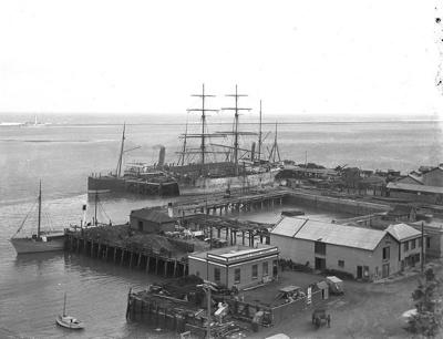 Nelson wharves, circa 1905, FNJ 6 x 8 30