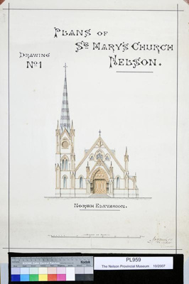 Plan of St Mary's Church, Nelson, circa 1882, PL959