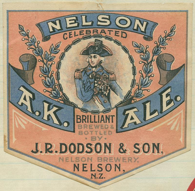 Nelson Celebrated A.K. Brilliant Ale. Brewed & Bottled by J.R. Dodson & Son, Nelson Brewery, Nelson, N.Z., circa 1945, AG 83