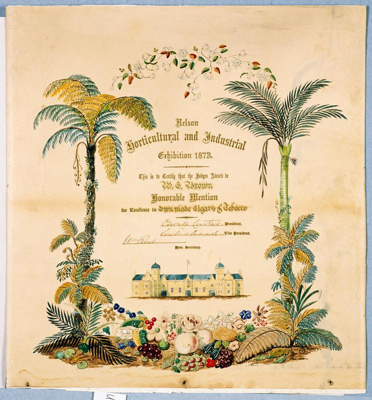 A Nelson Horticultural and Industrial Exhibition 1873. This is to certify that the Judges Award to W.E. Brown honourable mention for excellence in own made cigars and tobacco, date unknown, UMS 1261