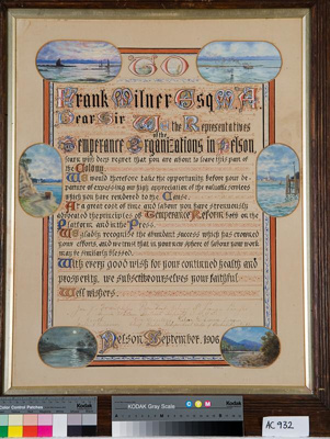 Temperance Organisation award to Frank Milner, date unknown, AC 932