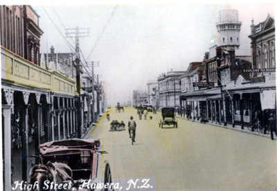 Semi coloured photograph of High St Hawera,; H.J.Finlay.; 2013.067