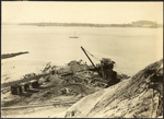 Photograph: Commencement of Eastern Breakwater, Auckland, 1920.; Auckland Harbour Board. Engineer's Dept.; 2010.132.348