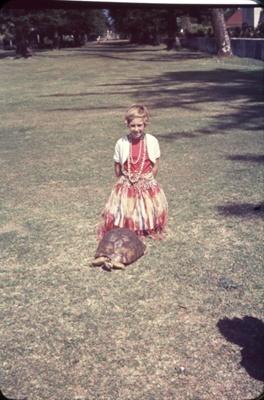 Slide: Young girl with tortoise (Tu'i Malila?); Sybil Dunn; Keith Dunn; 2013.264.90