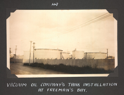 Photograph: Vacuum Oil Company's tank installation, Freeman's Bay; Foss Tackaberry; 2015.69.69