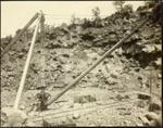 Photograph: Hand crane no. 6, Auckland Harbour Board quarry on Rangitoto Island, 1919.; Auckland Harbour Board. Engineer's Dept.; 2010.132.288