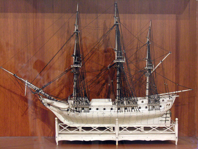 Carved bone ship model, French Prisioners of War, Between 1803-1815, 390