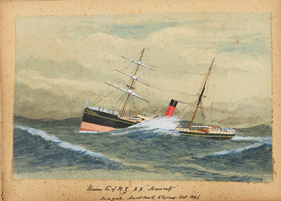 "Painting: Union Co. of N.Z. S.S. ""HAUROTO"" In a gale. Auckland to Sydney, Oct. 1886.; F.W. Coombes; 1994.97.35"