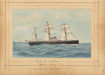 """Painting: """"S.S. SARMATIAN Allen Line - Liverpool & Canada""""; F.W. Coombes; 1994.97.4"""